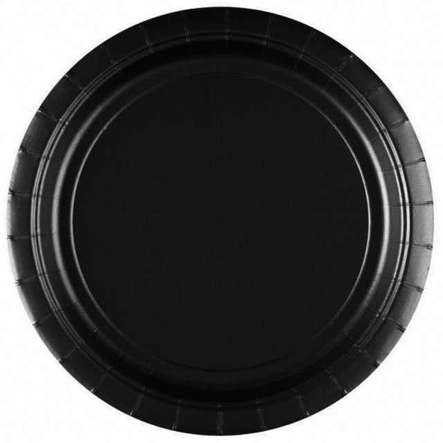 """Talerzyki papierowe """"Premium AMSCAN L"""", czarne, 22,8 cm, 8 szt"""
