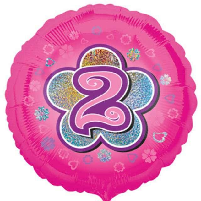 """Balon foliowy """"Urodziny 2"""", pink flowers, AMSCAN, 18"""" RND"""