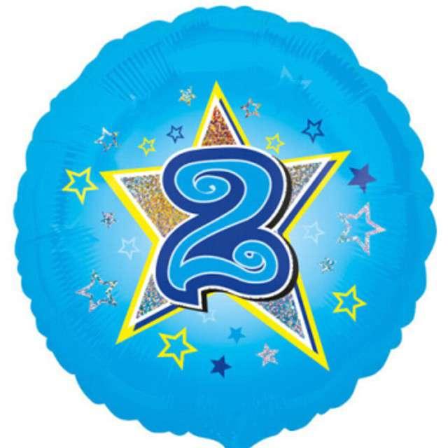 """Balon foliowy """"Urodziny 2"""", blue stars, AMSCAN, 18"""" RND"""