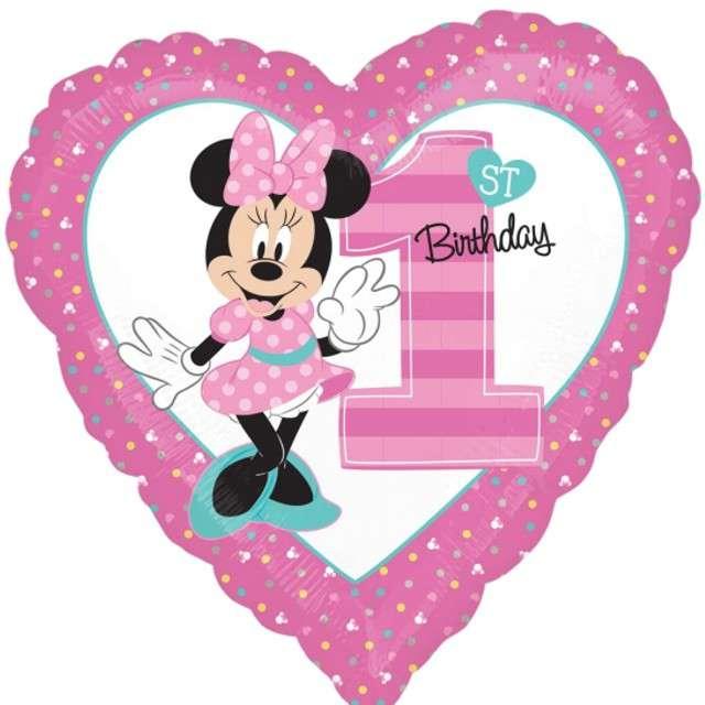 """Balon foliowy """"Urodziny 1 Minnie"""", różowe, AMSCAN, 18"""" HRT"""