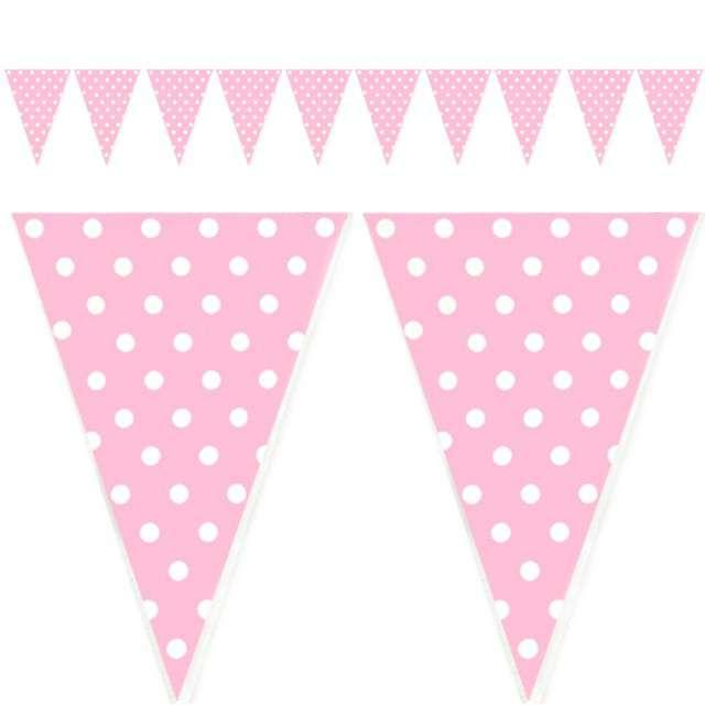 "Baner flagi ""Kropki"", różowy, 200 cm"