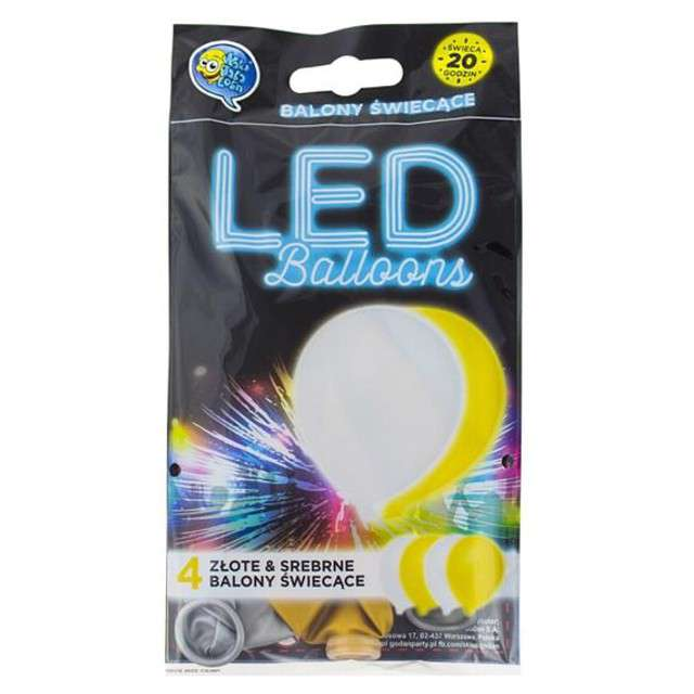 "Balony 11"", ""LED silver & gold"", 4 szt"