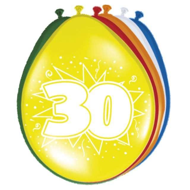 "Balony 12"", ""Urodziny 30"", FOLAT, mix pastel, 8 szt"