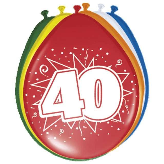 "Balony 12"", ""Urodziny 40"", FOLAT, mix pastel, 8 szt"