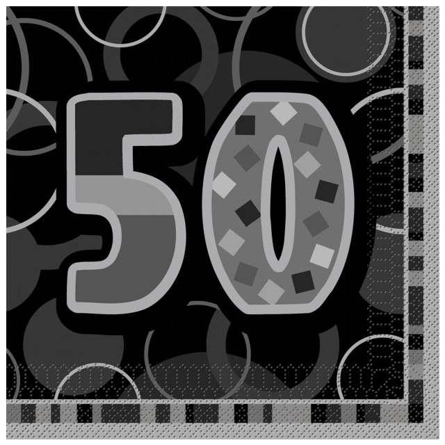 "Serwetki ""50 Glitz Black"", 33 cm, UNIQUE, 16 szt"