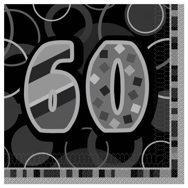 "Serwetki ""60 Glitz Black"", 33 cm, UNIQUE, 16 szt"