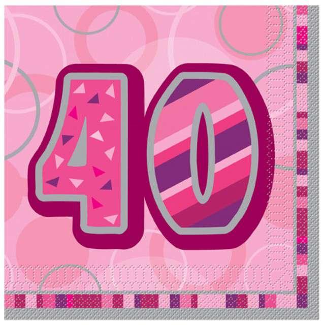 "Serwetki ""40 Glitz Pink"", 33 cm, UNIQUE, 16 szt"