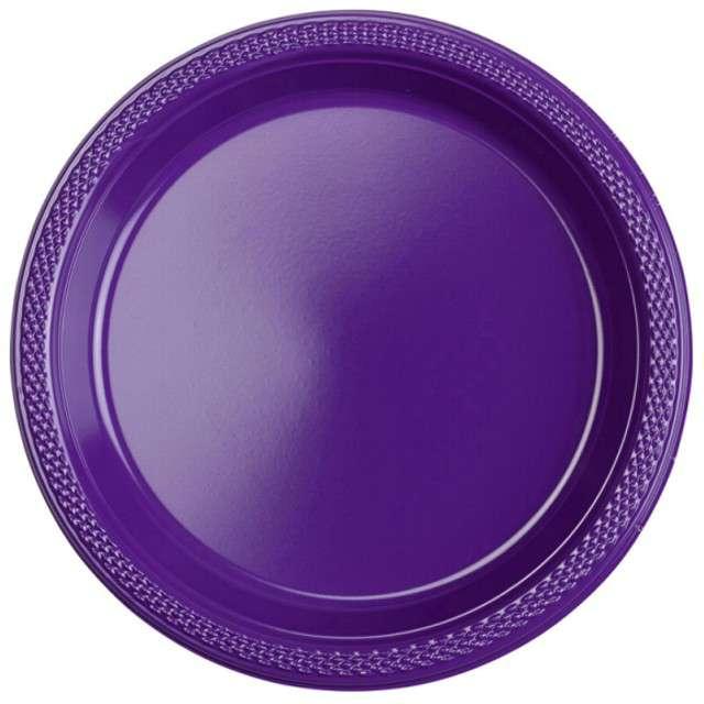 """Talerzyki plastikowe """"Amscan L"""", fioletowe, 22,8 cm, 10 szt"""