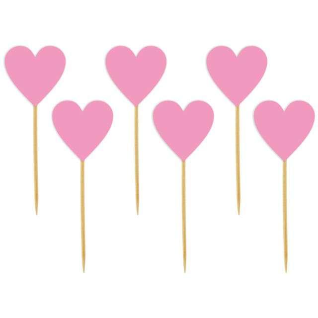 """Szpilki drewniane """"Serca Classic"""", różowe, 6 szt"""