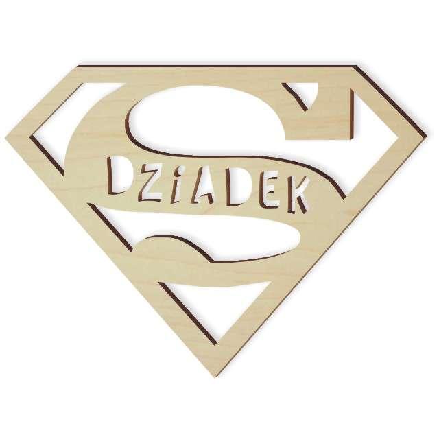 """Zawieszka drewniana """"SUPER Dziadek"""", 100x74 mm"""