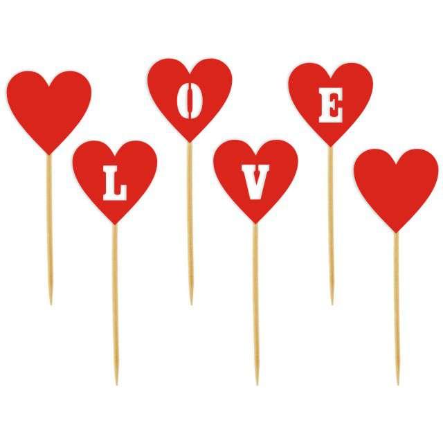 """Szpilki drewniane """"Serca LOVE"""", czerwone, 6 szt"""