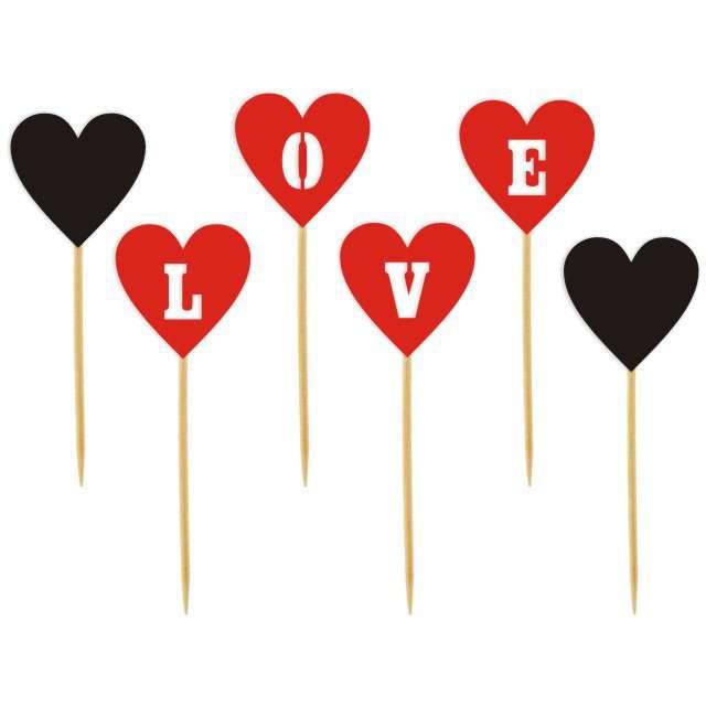 """Szpilki drewniane """"Serca LOVE"""", czerwono czarne, 6 szt"""