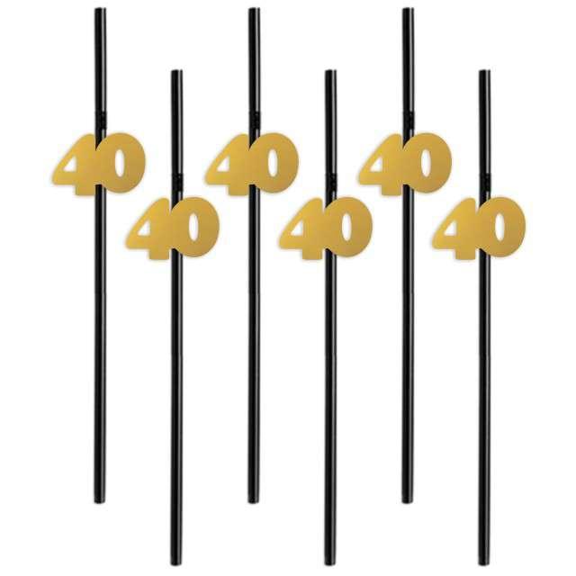 Słomki 40 21cm złote 6szt
