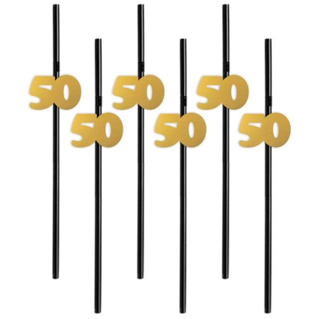 """Słomki """"50"""", 21 cm, złote, 6 szt"""