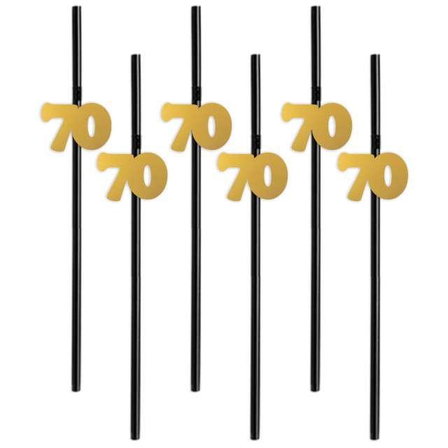 """Słomki """"70"""", 21 cm, złote, 6 szt"""