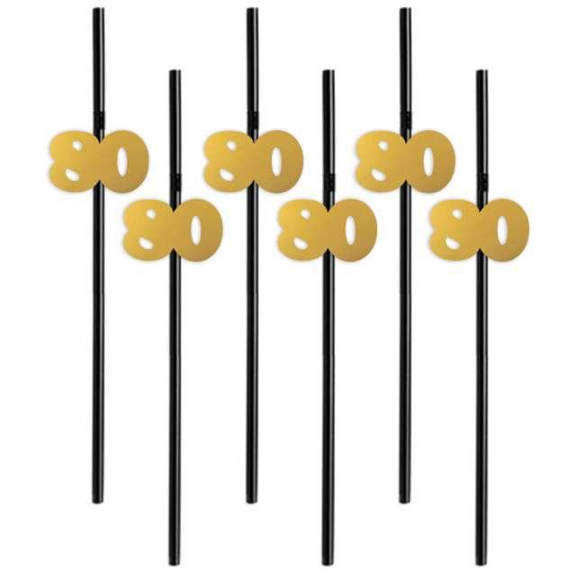 """Słomki """"80"""", 21 cm, złote, 6 szt"""