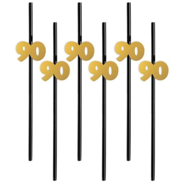 """Słomki """"90"""", 21 cm, złote, 6 szt"""