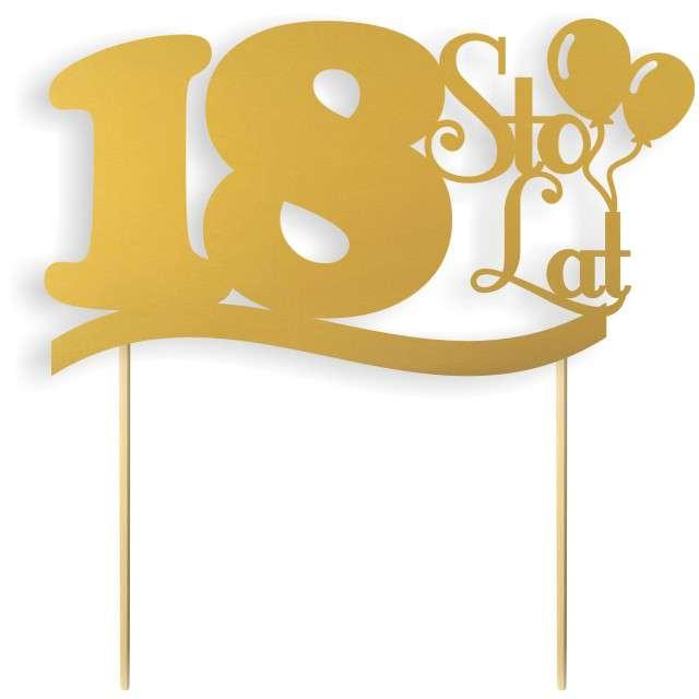 """Dekoracja na tort papierowa """"Urodziny 18"""", złota,  17 cm"""