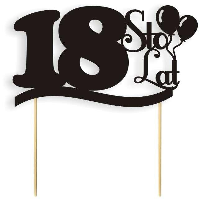 """Dekoracja na tort papierowa """"Urodziny 18"""", czarna,  17 cm"""