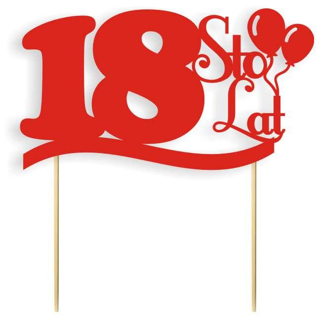"""Dekoracja na tort papierowa """"Urodziny 18"""", czerwona, 17 cm"""