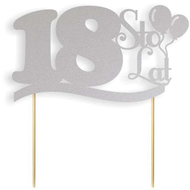 """Dekoracja na tort papierowa """"Urodziny 18"""", srebrna, 17 cm"""