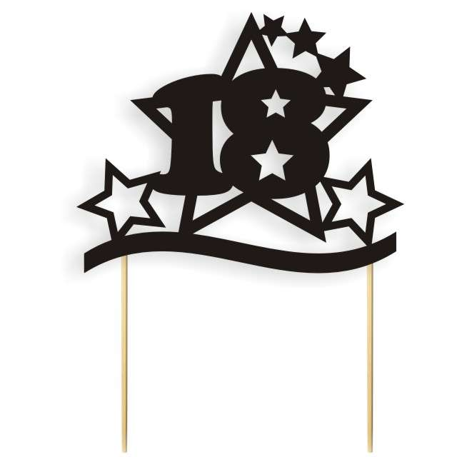 """Dekoracja na tort papierowa """"Urodziny 18 Stars"""", czarna,  17 cm"""