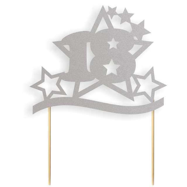 """Dekoracja na tort papierowa """"Urodziny 18 Stars"""", srebrna,  17 cm"""