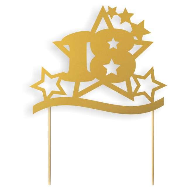 """Dekoracja na tort papierowa """"Urodziny 18 Stars"""", złota,  17 cm"""