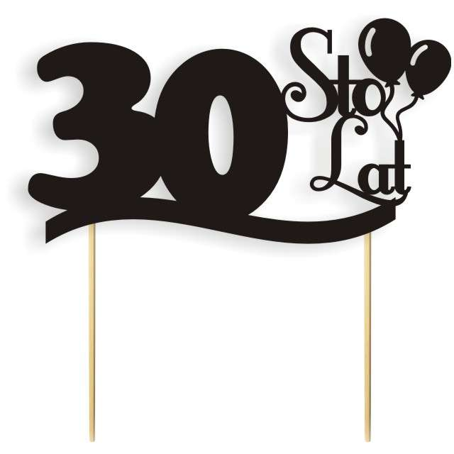 """Dekoracja na tort papierowa """"Urodziny 30"""", czarna,  17 cm"""