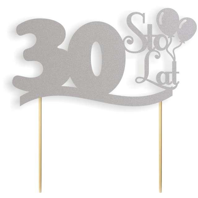 """Dekoracja na tort papierowa """"Urodziny 30"""", srebrna,  17 cm"""