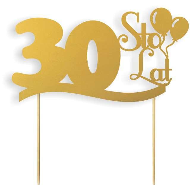 """Dekoracja na tort papierowa """"Urodziny 30"""", złota,  17 cm"""