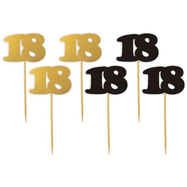 """Pikery """"18 Urodziny Classic"""", złoto-czarne, 6 szt"""