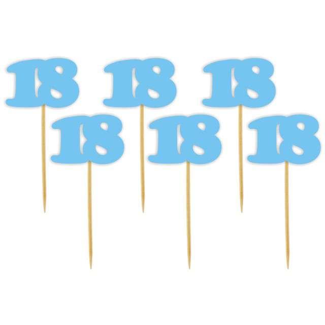 """Pikery """"18 Urodziny Classic"""", błękitne, 6 szt"""