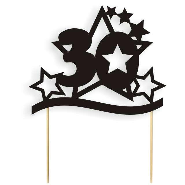 """Dekoracja na tort papierowa """"Urodziny 30 Stars"""", czarna,  17 cm"""