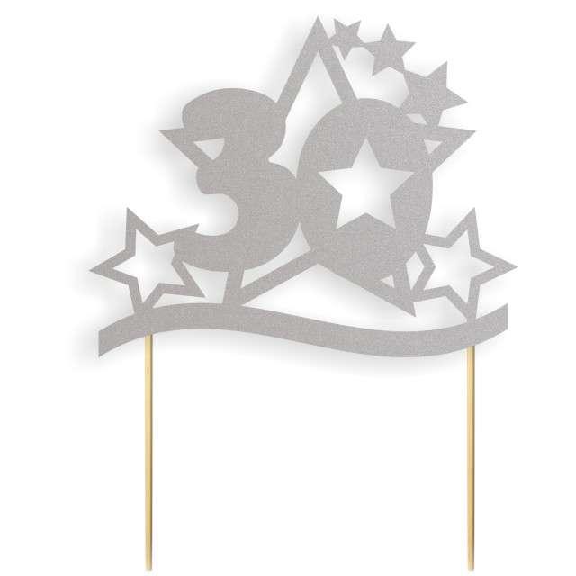"""Dekoracja na tort papierowa """"Urodziny 30 Stars"""", srebrna, 17 cm"""