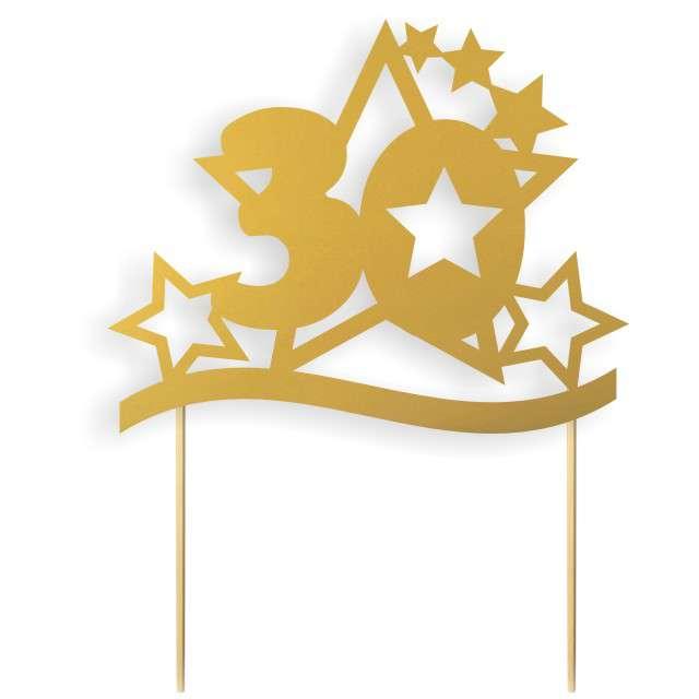 """Dekoracja na tort papierowa """"Urodziny 30 Stars"""", złoty, 17 cm"""
