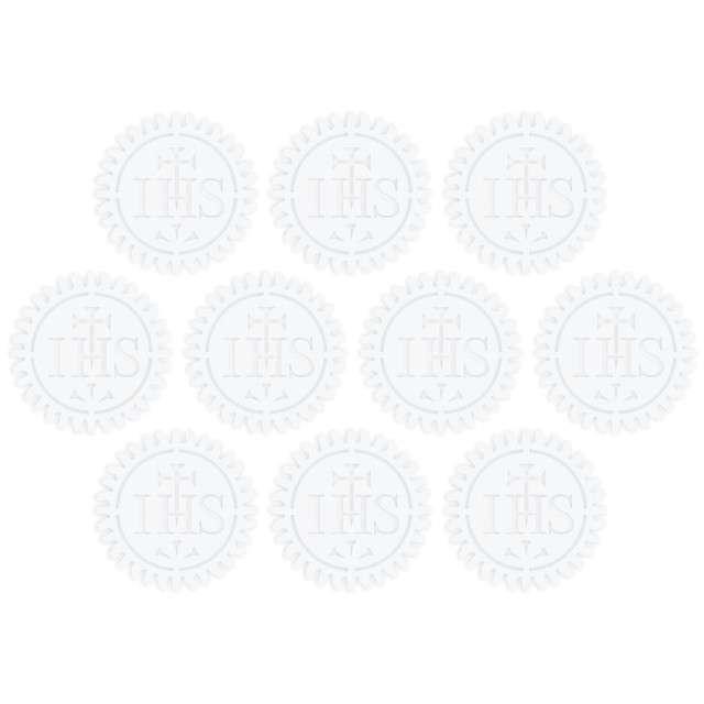 """Scrapki papierowe """"Hostia IHS"""", białe, 3 cm, 10 szt"""