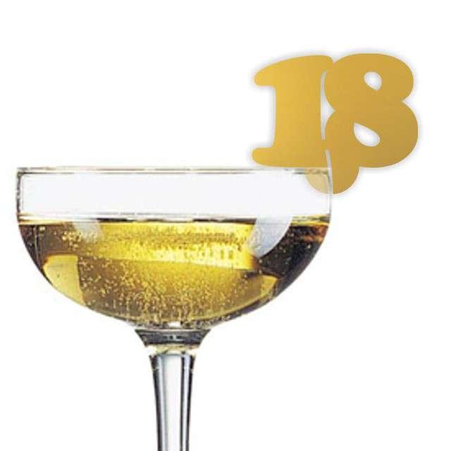 """Dekoracja na kieliszki """"Urodziny 18"""", złota, 10 szt"""