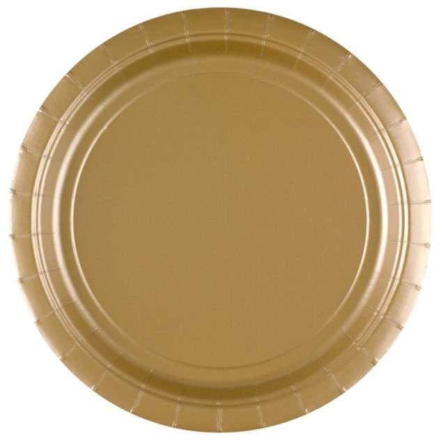 """Talerzyki papierowe """"Premium AMSCAN L"""", złote, 22,8 cm, 8 szt"""