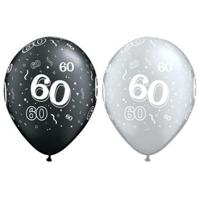 """Balony """"60"""", pastel czarny, srebrny mix, QUALATEX, 11"""", 25 szt"""