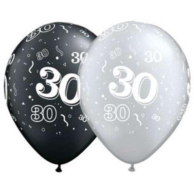 """Balony """"30"""", pastel czarny, srebrny mix, QUALATEX, 11"""", 25 szt"""