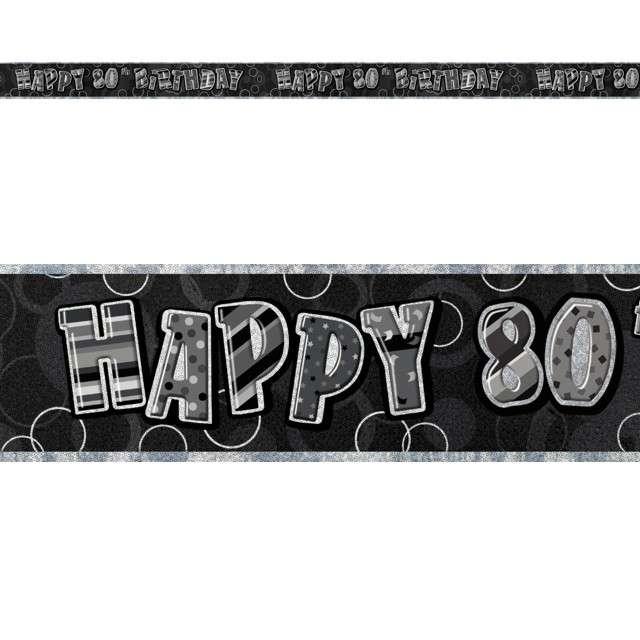 """Baner taśma """"Urodziny 80"""", czarny glitz, UNIQUE, 365 cm"""