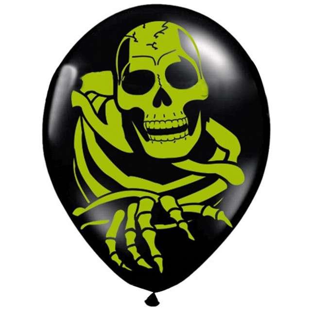 """Balony 12"""", """"Kościotrup zielony"""", FOLAT, czarne, 8 szt"""