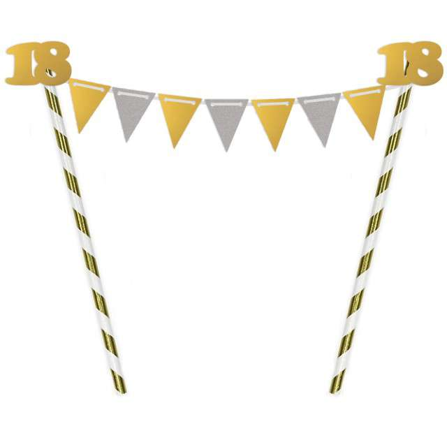 """Dekoracja na tort słomkowa """"Urodziny 18"""", złota"""