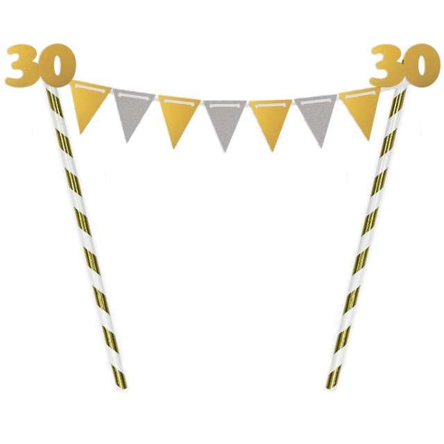 """Dekoracja na tort słomkowa """"Urodziny 30"""", złota"""