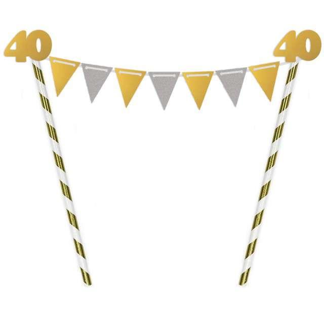 """Dekoracja na tort słomkowa """"Urodziny 40"""", złota"""