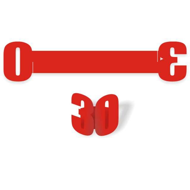 """Ringi papierowe do serwetek """"30 urodziny"""", czerwone, 6 szt"""