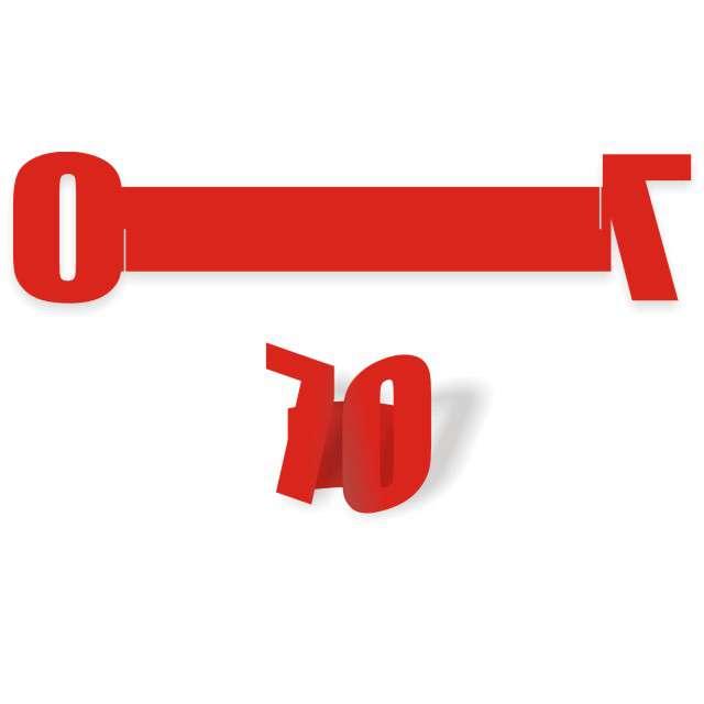 """Ringi papierowe do serwetek """"70 urodziny"""", czerwone, 6 szt"""