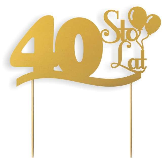 """Dekoracja na tort papierowa """"Urodziny 40"""", złota,  17 cm"""
