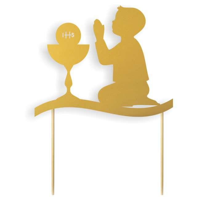 """Dekoracja na tort papierowa """"I Komunia Św. Chłopiec"""", złota,  17 cm"""